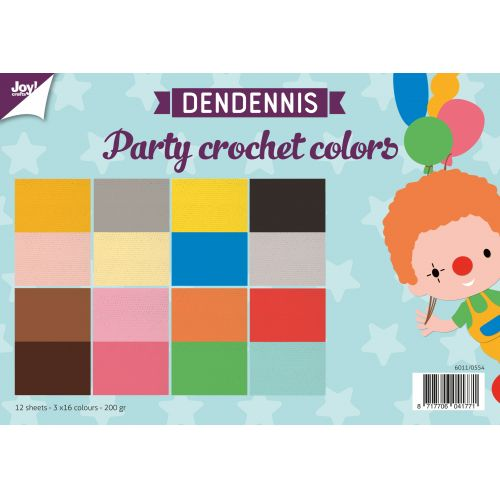 papierset Dendennis party crochet colors